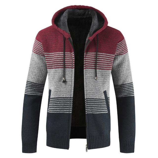 Winter Mens Coats and Jackets Casual Patchwork Hooded Zipper Coats Men Fashion Thick Wool Jacket Men Streetwear