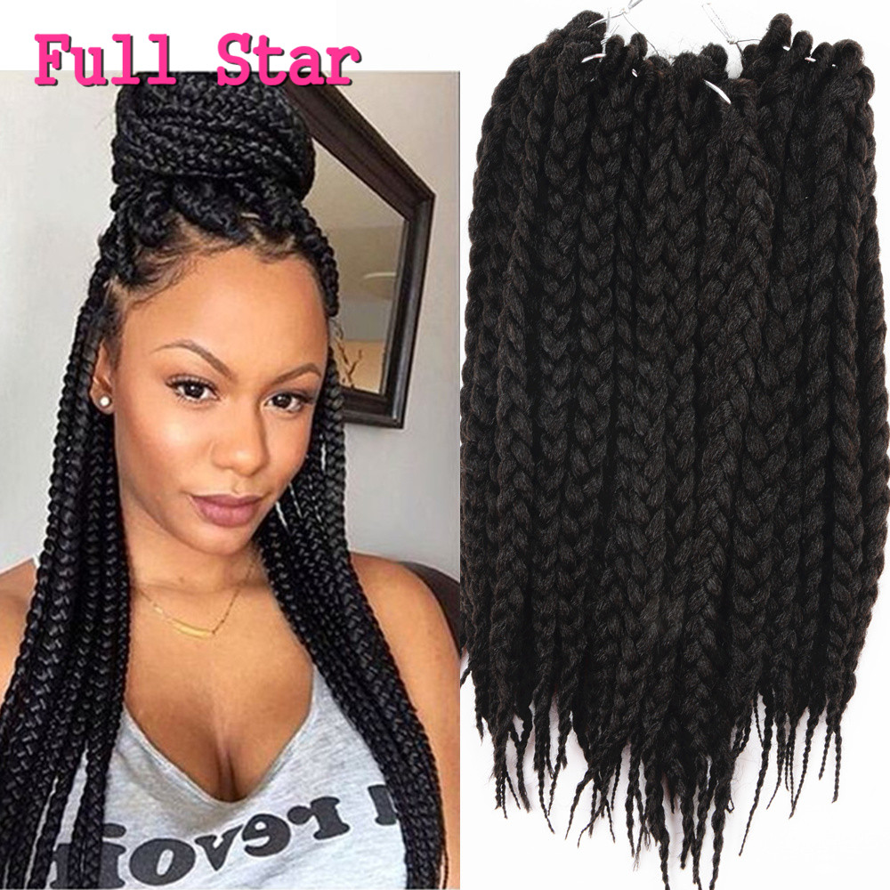 "Full Star 12"" 18"" 22"" 80g 12Root 3S Crochet Box Braids Synthetic Hair Extensions Pure black bug brown hair 1 pack/lot for Women"
