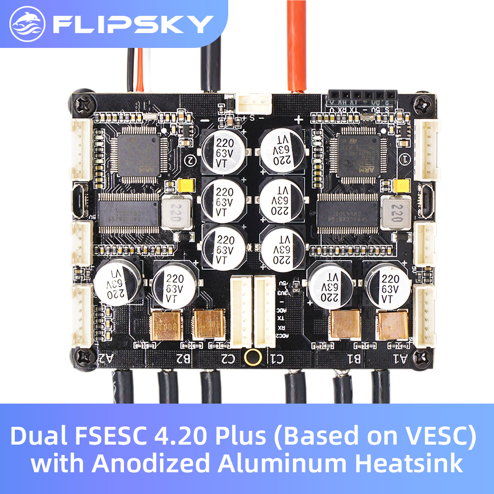 Electric Speed Controller for scooter/mountain Bike Dual FSESC4.20 Plus (Based on VESC ) with Anodized Aluminum Heatsink FLIPSKY