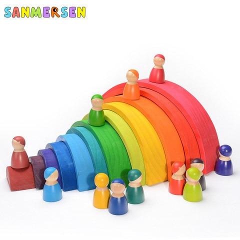 brinquedos do bebe 12 pcs blocos arco iris tamanho grande criativo de madeira arco iris