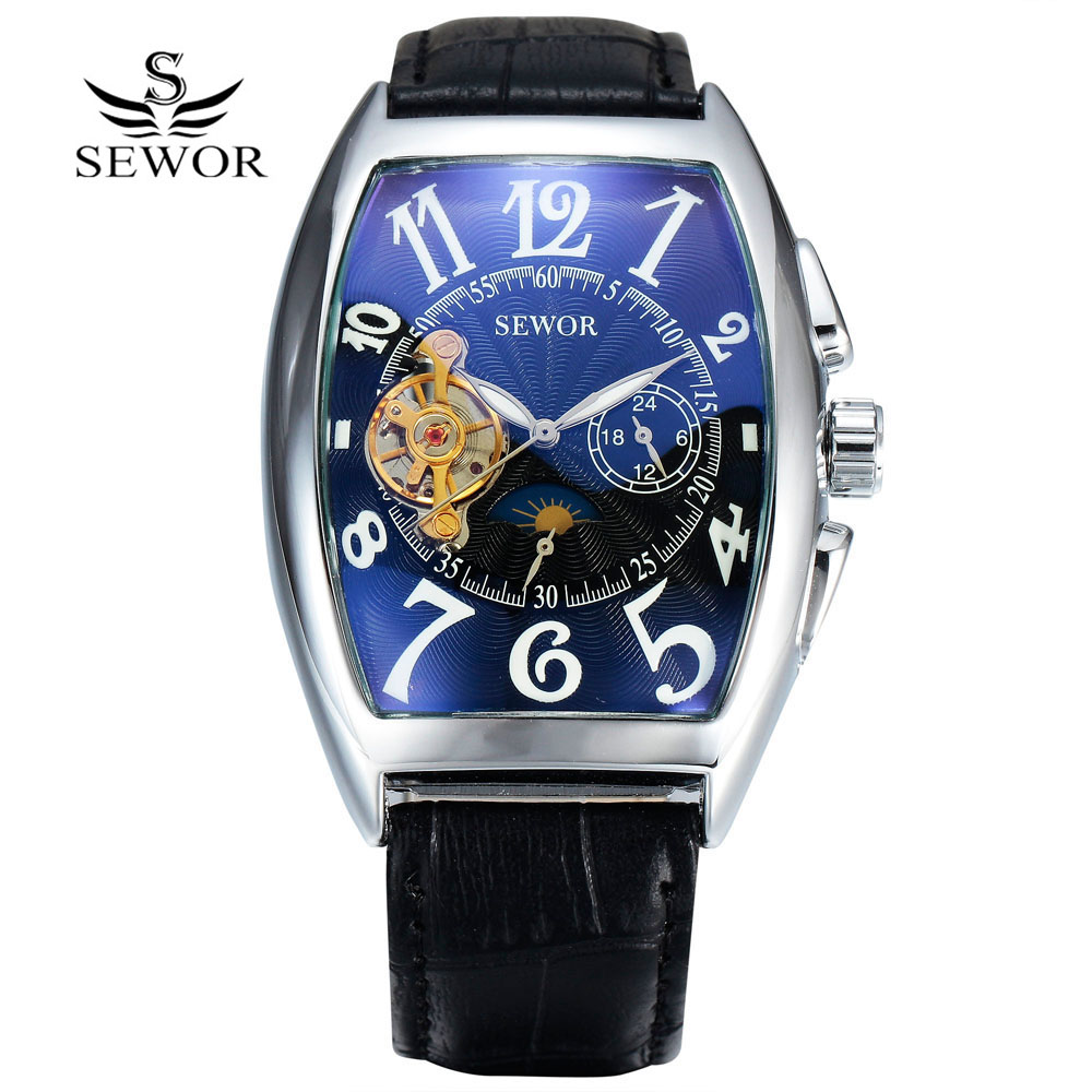 SEWOR Luxury Tourbillon Watches Men Automatic Mechanical Watches Fashion Tonneau Watches Casual Men Watches Moon Phase reloj