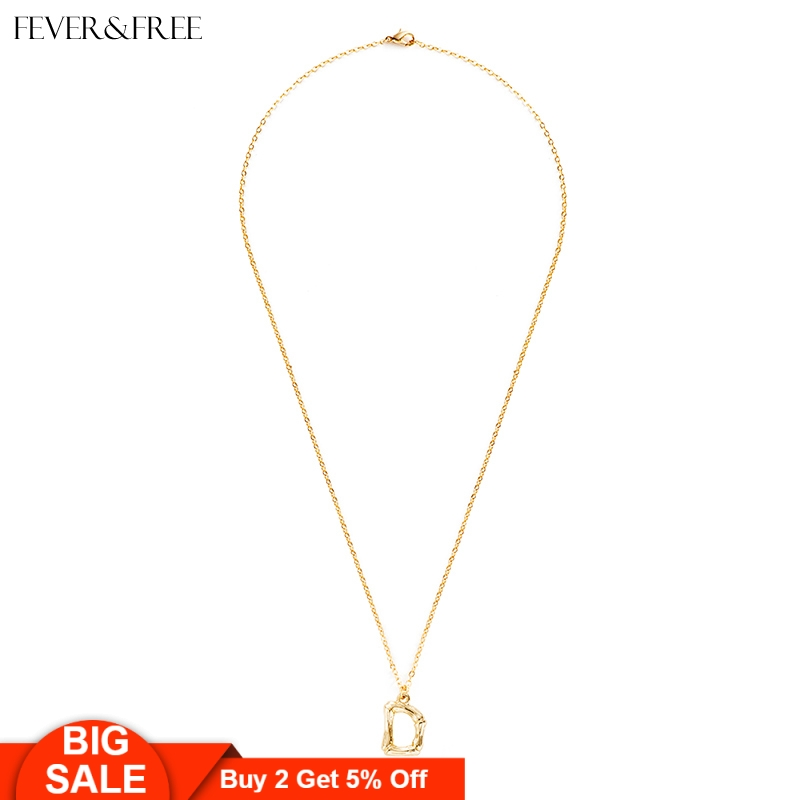 Fever&Free Women Personalized Letter Necklace Initial A-Z Gold Chain Tiny Name & Pendant D Collier Femme Jewelry
