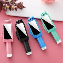 Wired Handheld Selfie Stick Monopod with Mirror Mini Fashion Self-timer for IPhone 6 6S Plus for Samsung Xiaomi Huawei Monopod kisscase candy colorful universal selfie stick for iphone 7 8 for huawei portable mini self timer for samsung galaxy s8 s9 plus
