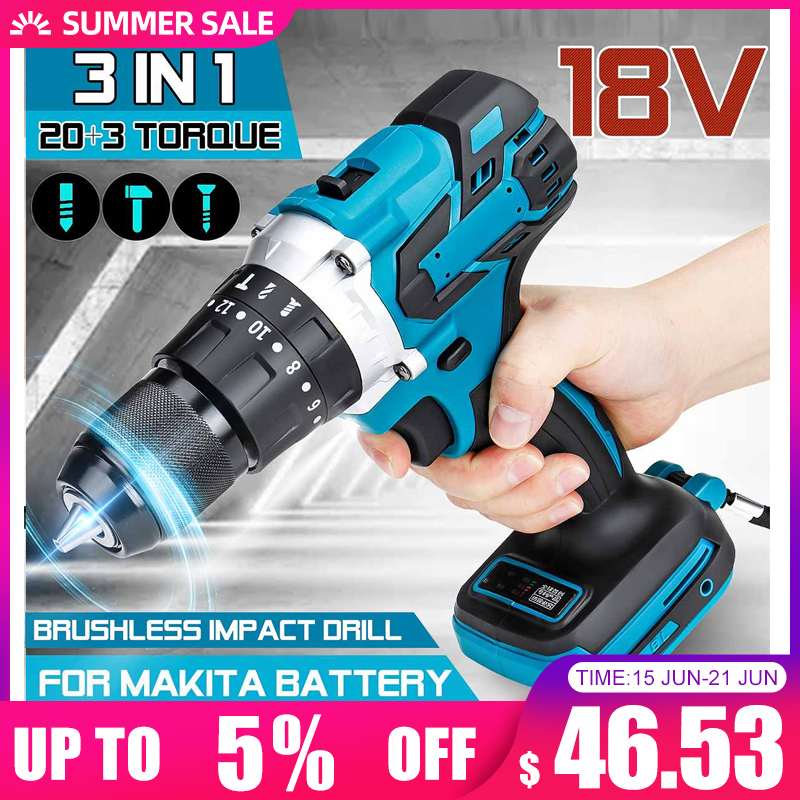 3 in 1 Brushless Electric Hammer Drill Electric Screwdriver 13mm 20+3 Torque Cordless Impact Drill for Makita Battery 18V Electric Drills    - AliExpress