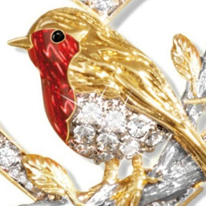 Elegante Cristallo Robin Gazza Uccello Del Pendente Della Collana a forma di Cuore Colorato Zircone Collane per Le Donne Amante Dei Monili di Anniversario