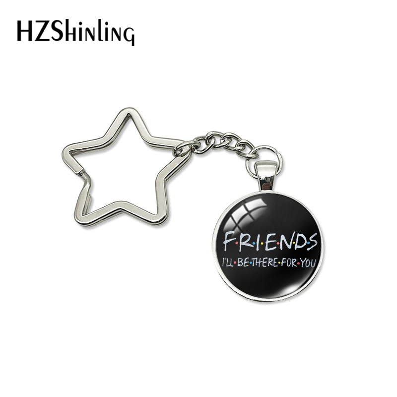 2020 New Fashion TV Show Style Star Shaped Keychains Gifts For Friends Glass Dome Bag Holder Keyrings