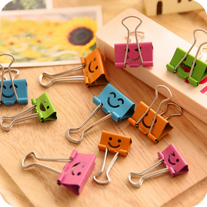 10X Cute Colorful Smile Face Document File Metal Clips Bookmark School Office Supply Student Stationery