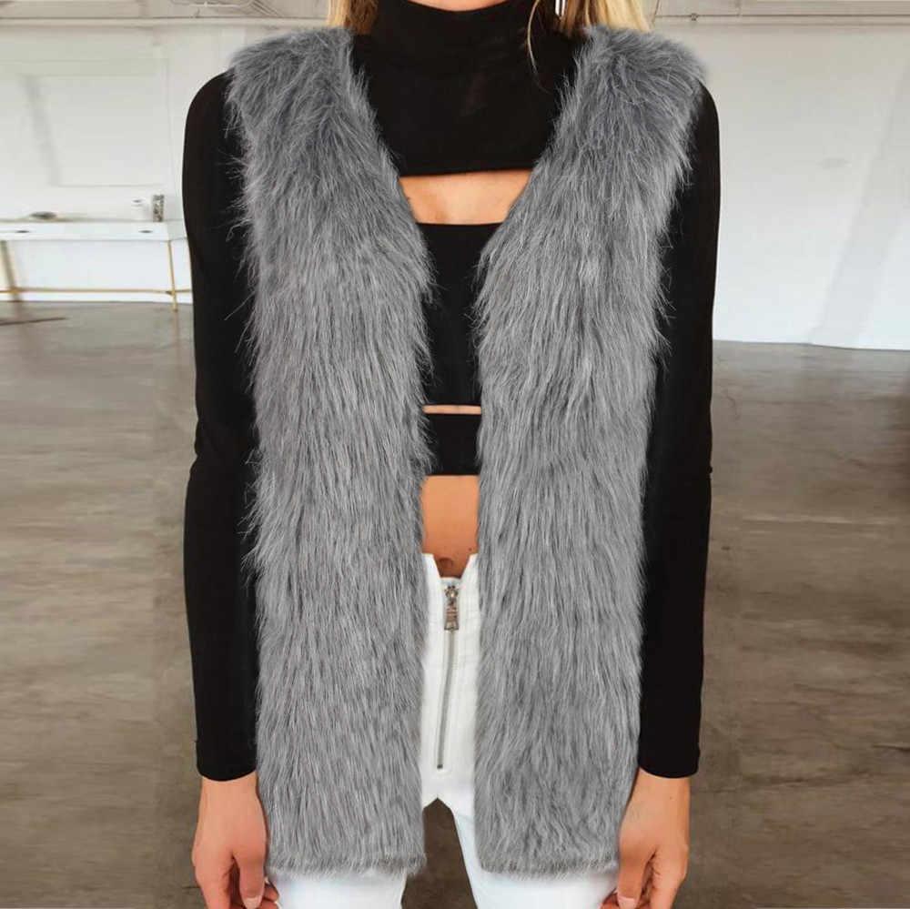 2019 女性のファッションスリムロングフェイクファーベストノースリーブ V チョッキジャケットのコート & ジャケット女性生き抜くプラスサイズ