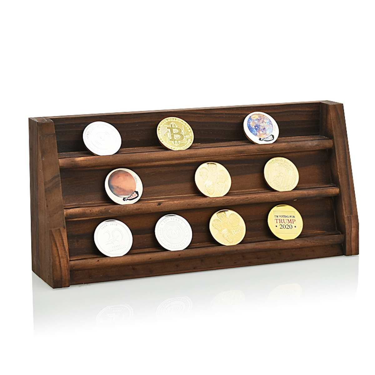 2 Styles Coin Display Stand Coin Case Collector Wooden Coin Storage Shelves Collectible Coins Holder Display Album Coin Case