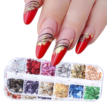 Sparkly Foil Nails Sequins Irregular Aluminum Gold Red Summer Design Set Nail Glitter Flakes Gel DIY Manicure Accessories CH950