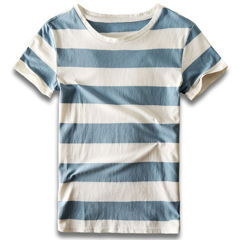 цена Men Striped T-Shirt Stripes Top Tees Male Fashion Short Sleeve Blue Red White Black T Shirt Costume Cosplay Party онлайн в 2017 году