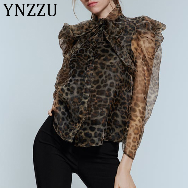 YNZZU New Spring Autumn Leopard Print Organza Blouse Women Bow Collar Puff Sleeve Loose Womens Tops And Blouses Blusas AT392