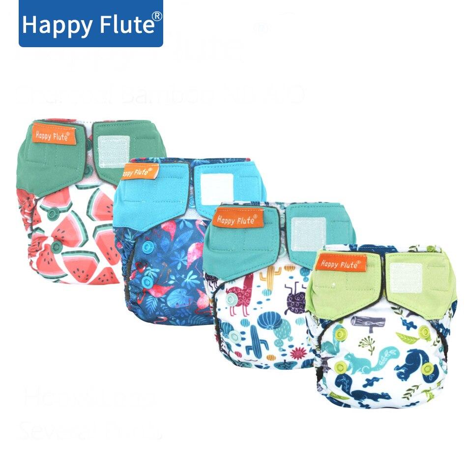 HappyFlute новорожденный уголь Бамбук AIO, водонепроницаемый и дышащий, подходит для детей 0-3 месяцев или 6-12 фунтов