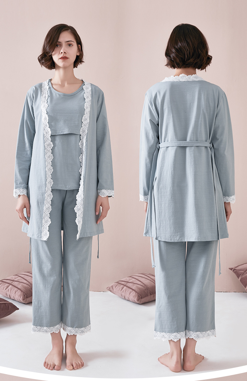 Maternity Pajamas 3 PCs/Set Maternity Nursing Sleepwear Breastfeeding Pregnant Nightwear Summer Spring Pregnancy Nursing Clothes