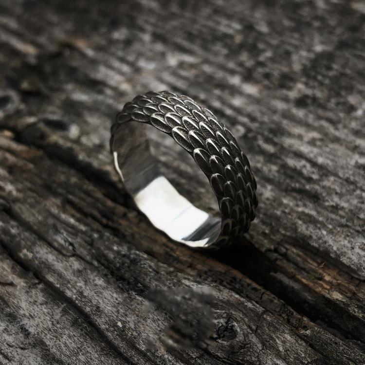 925 silber Original Design Einfache Persönlichkeit Drache Skala Ring Für Männer Schmuck Paar Ring - 2