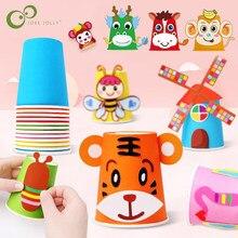12 pièces enfants 3D bricolage à la main papier tasses autocollant matériel Kit ensemble ensemble enfants maternelle école Art artisanat jouets éducatifs GYH