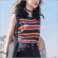 Sleeveless Vest Tops Student Korean style Stripes Summer Loose Outer Wear Versatile Harajuku Camisole WOMEN'S Knitted T shirt