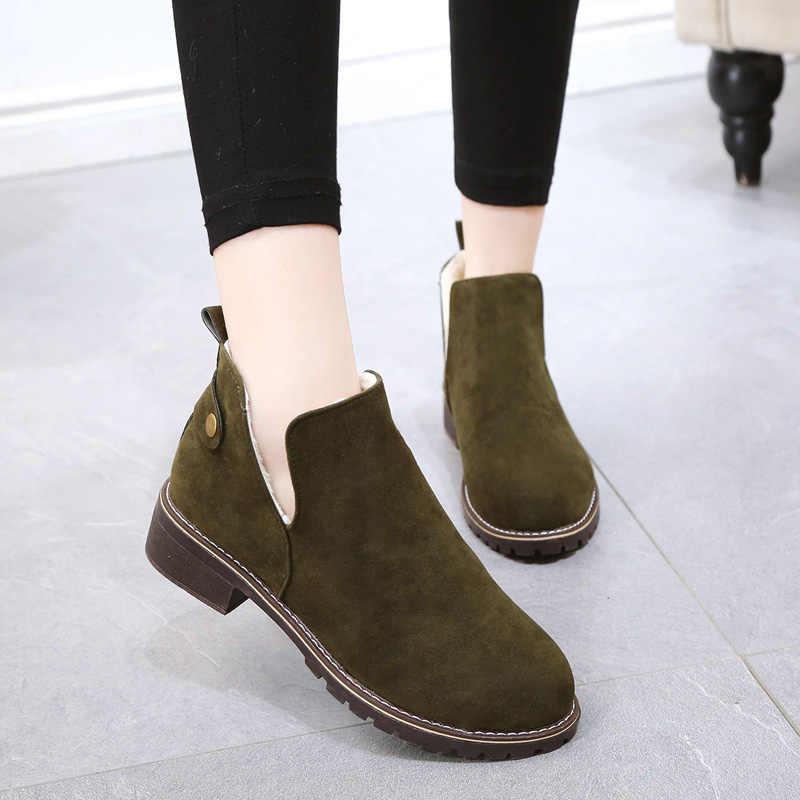 """Mới Thu Đông Nữ Mắt Cá Chân Giày Bốt Martin Giày Nữ Mũi Tròn Thấp Gót Cưới Ấm Sang Trọng Ủng Người Phụ Nữ Boot mujer """"T120"""