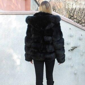 Image 5 - Moda di Lusso Nero di Spessore Reale Cappotti di Pelliccia di Volpe Con Cappuccio Per Le Donne di Pelle Pieno Breve Genuino della Pelliccia di Fox Giubbotti Donna inverno Cappotto