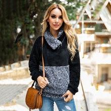 Осенне зимние толстовки с капюшоном элегантный шарф воротник