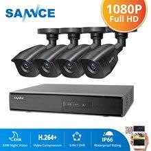 SANNCE 4CH HD 1080P CCTV System 1080P Output CCTV DVR HD 2.0MP Security Cameras IR night Waterproof Surveillance kit