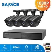 Sannce 4ch hd 1080p sistema de cctv, 1080p hdmi saída cctv dvr hd 2.0mp câmeras de segurança ir à prova d água noite kit de vigilância