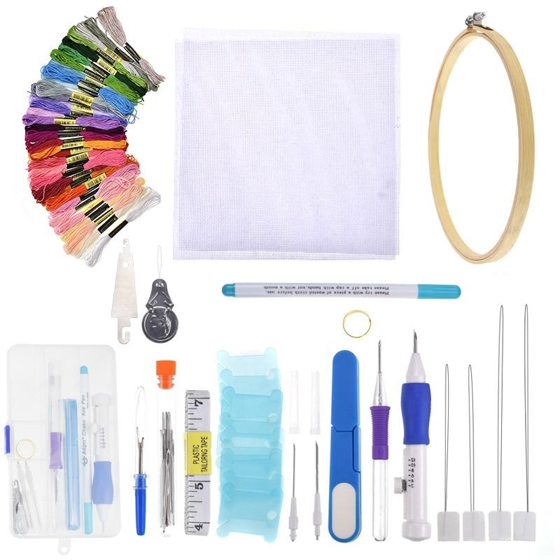 DIY Cross Stitch Magic Embroidery Pen Stitching Punch Needles  Floss Threads Kit