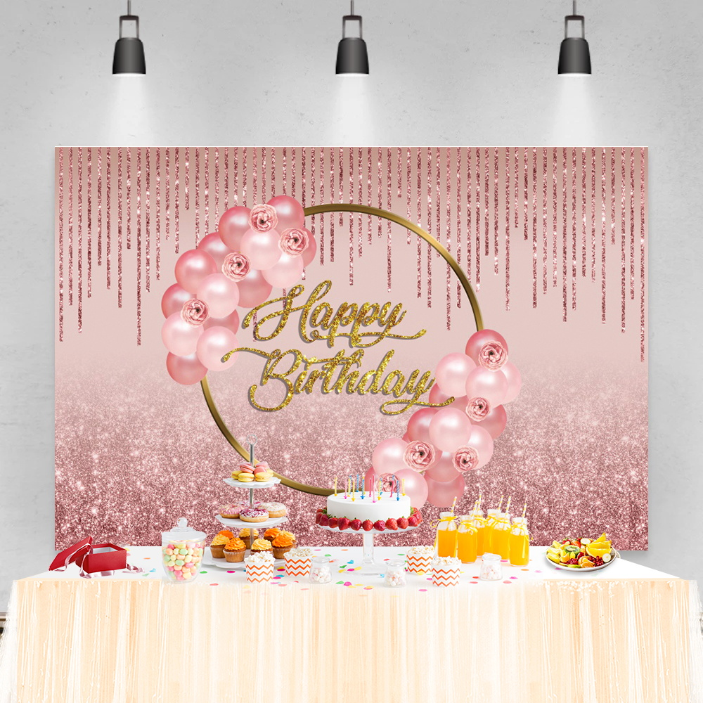 Photo Backdrop Pink Red Balloons Birthday Party Glitters Star Dot Pendant Stage Customized Poster Baby Portrait Photo Background