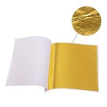 Feuille d'or pratique, Pure et brillante, 9x9cm, 100 feuilles, pour la dorure, lignes de meuble, artisanat mural, décoration