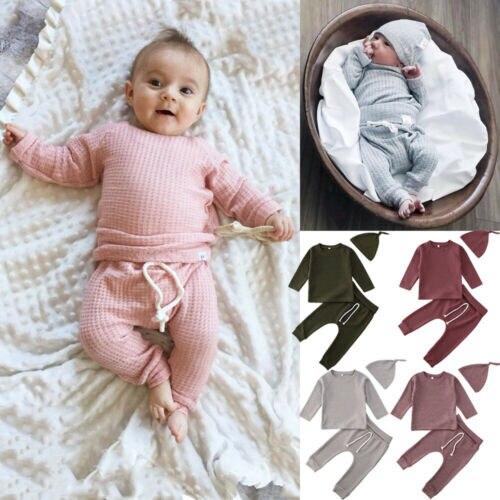 Hat T-Shirt Outfit Pants Infant Winter Newborn Baby-Girls-Boys Top Cotton 3pcs for 0-24M
