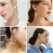 X&P New Fashion Round Drop Korean Circle Earrings Statement Round Hollow Golden Dangle Earring For Women Wedding 2020 Jewelry flyleaf handmade 925 sterling silver asymmetry drop earrings for women round circle dangle statement earings fashion jewelry