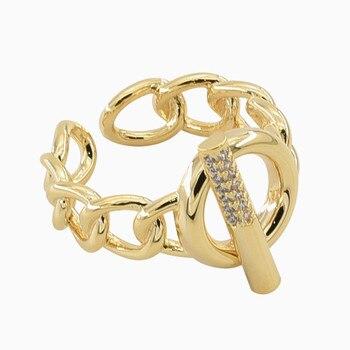 Anillos abiertos huecos de cadena de un solo botón de nuevo diseño para mujeres niñas Color dorado Rhinestone Hip Hop anillos de dedo joyería Simple
