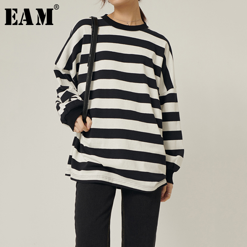 [EAM] Women Black Striped Split Joint Big Size T-shirt New Round Neck Long Sleeve  Fashion Tide  Spring Autumn 2020 1R571