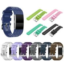 16 Colors 3D Texture Silicone Strap for Fitbit Charge 2 Smart Watch Strap Buckle Watchband Wrist Band Bracelet Clock Accessories(China)