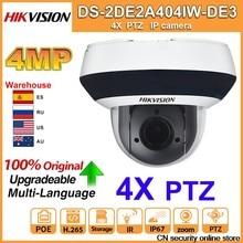 Hikvision original ptz ip câmera DS-2DE2A404IW-DE3 updateable 2.8-12mm 4x zoom com poe h.265 cctv vigilância de vídeo