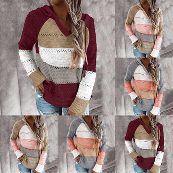 2020 V Neck Striped Patchwork Hooded Sweater Women Casual Long Sleeve Knitted Top Winter Striped Pullover Jumpers twist front v neck striped top