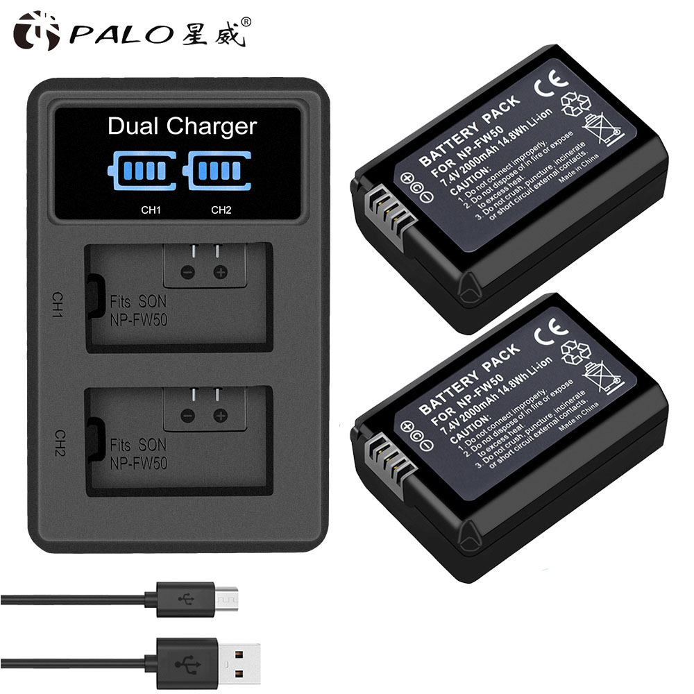 2pcs 2000mAh NP-FW50 NP FW50 <font><b>Batteries</b></font> for Camera + LCD Dual USB Charger for <font><b>Sony</b></font> <font><b>Alpha</b></font> A6500 A6300 A6000 <font><b>A5000</b></font> A3000 Nex-3 a7r image