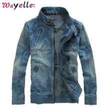 Denim Men Coats and Jackets 2019 autumn Zippers Chic Solid Jacket Japanese Streetwear Cowboy Casual