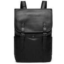 Vintage Laptop sırt çantası erkekler yüksek kaliteli sırt çantası su geçirmez PU deri sırt çantası adam moda erkek çantası rahat seyahat çantaları erkekler için