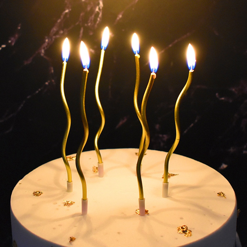 6Pcs/lot  Threaded Candle Curved Cake Candle Long Curving Cake Safe Flames Kids Birthday Cake Romantic Decorations