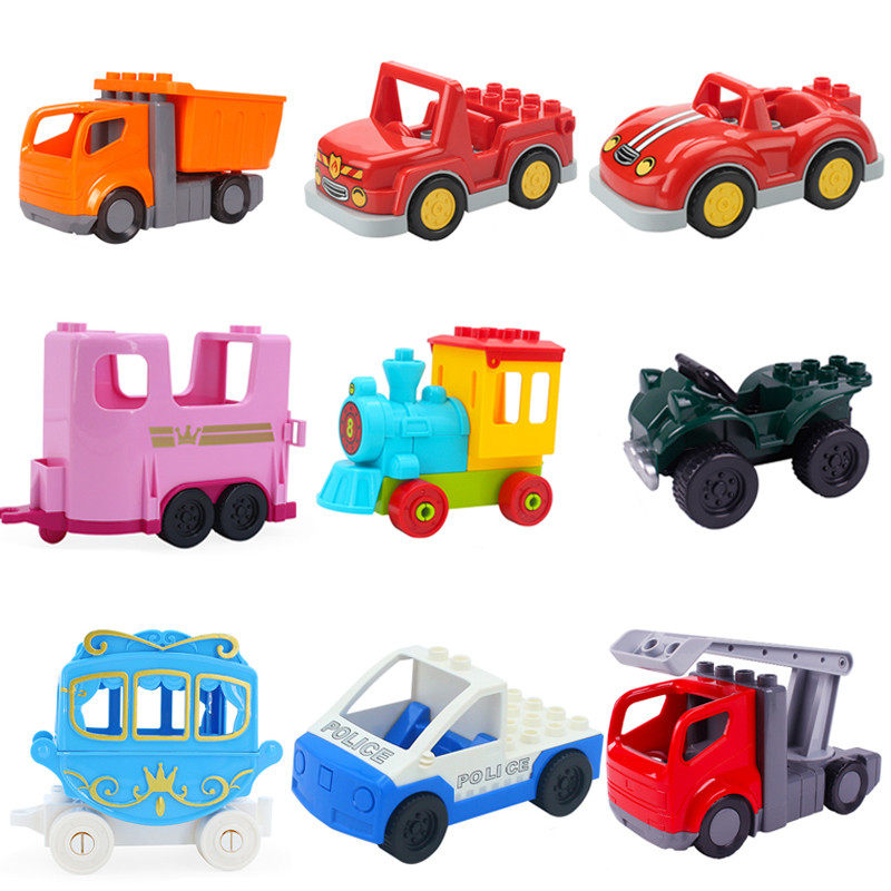 Big Size Building Blocks Accessories Car Truck Plane Motorcycle Vehicle Bricks Duplos Figures Parts Educational Toy For Children