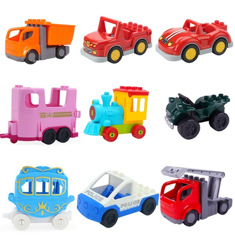 Big Size Building Blocks Accessories Car Truck Plane Motorcycle Vehicle Bricks Duplos Figures Parts Educational Toy For Children