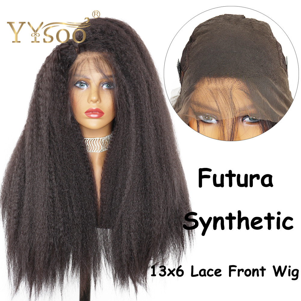 YYsoo Long Kinky Straight13x6 Futura Synthetic Lace Front Wigs For Black Women High Density Wig Baby Hair Heat Resistant Fiber