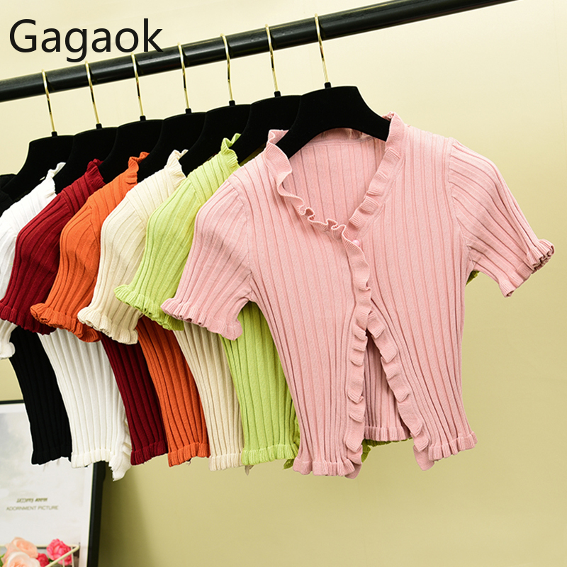 Gagaok Women Sweet Short Sweater Spring Autumn Solid V-Neck Butterfly Sleeve Button Stretch Retro Slim Female Korean Cardigans