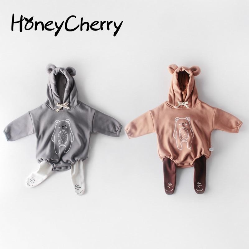 2020 Winter Baby Girl Bodysuits Baby Velvet Thick Printed Long-sleeved Hooded Jumpsuit Bodysuit Little Girls And Boy Clothing