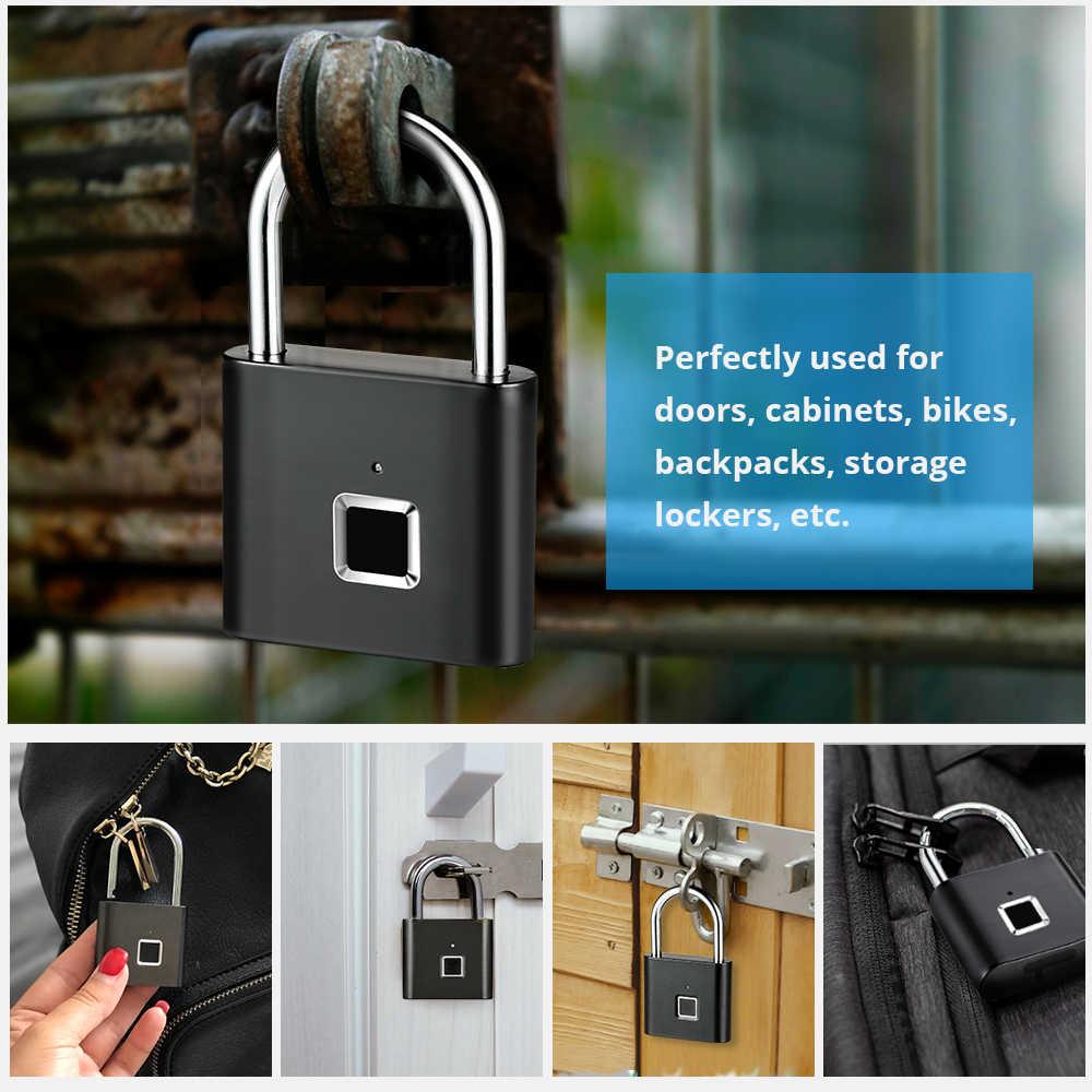 キーレス USB 充電式ドアロック指紋ロックスマート南京錠クイック解除亜鉛合金金属セキュリティ保護のための