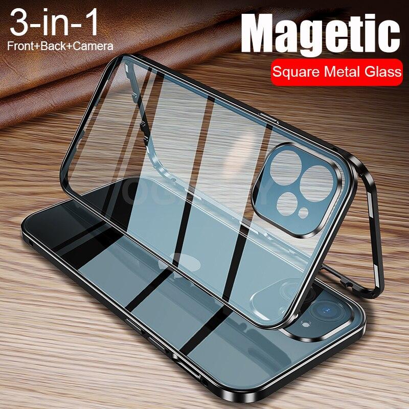 Magnetische Metalen Glas Case Voor Iphone 12 Pro Max 12 Mini 12Pro Max 12 Case Camera Glas Luxe Magneet Front terug Lens Cover 3 In1 1