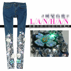 fashion Beaded Embroidered Diamond Drilled Jeans Women autumn mid waist Rhinestone Pencil jeans