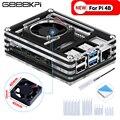 GeeekPi акриловый прозрачный/прозрачный и черный чехол для Raspberry Pi 4 Модель B большой размер Вентилятор охлаждения 4010 для Raspberry Pi 4