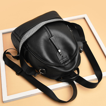 Double Shoulder Bag Women's 2019 New Fashion Women Backpack Soft Leather Women's Casual Bag Leather Backpack Bookbag